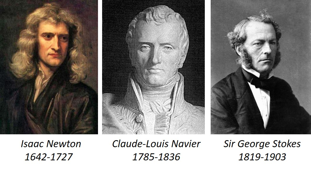 The matematicians Newton, Navier and Stokes