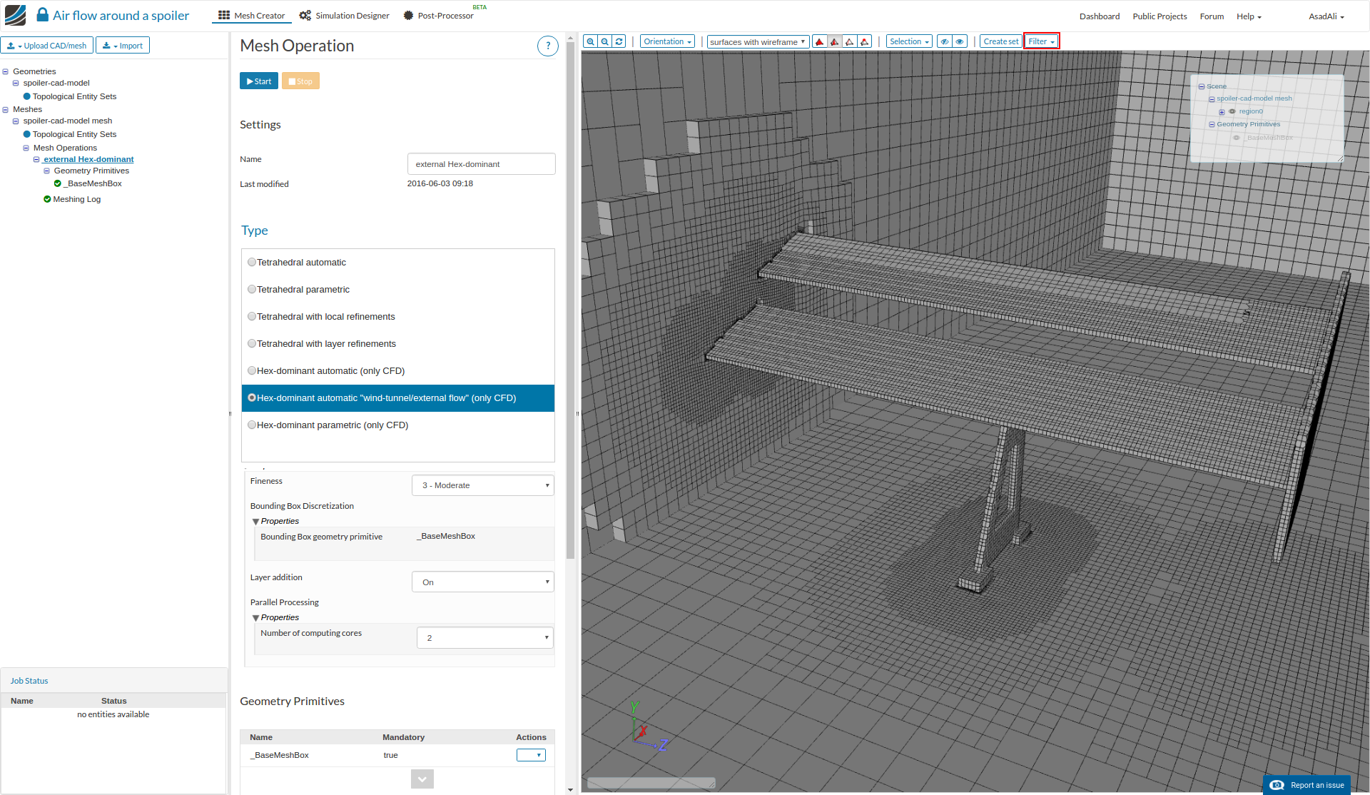 The mesh clip filter allows a more detailed visual review of the mesh and its internal properties