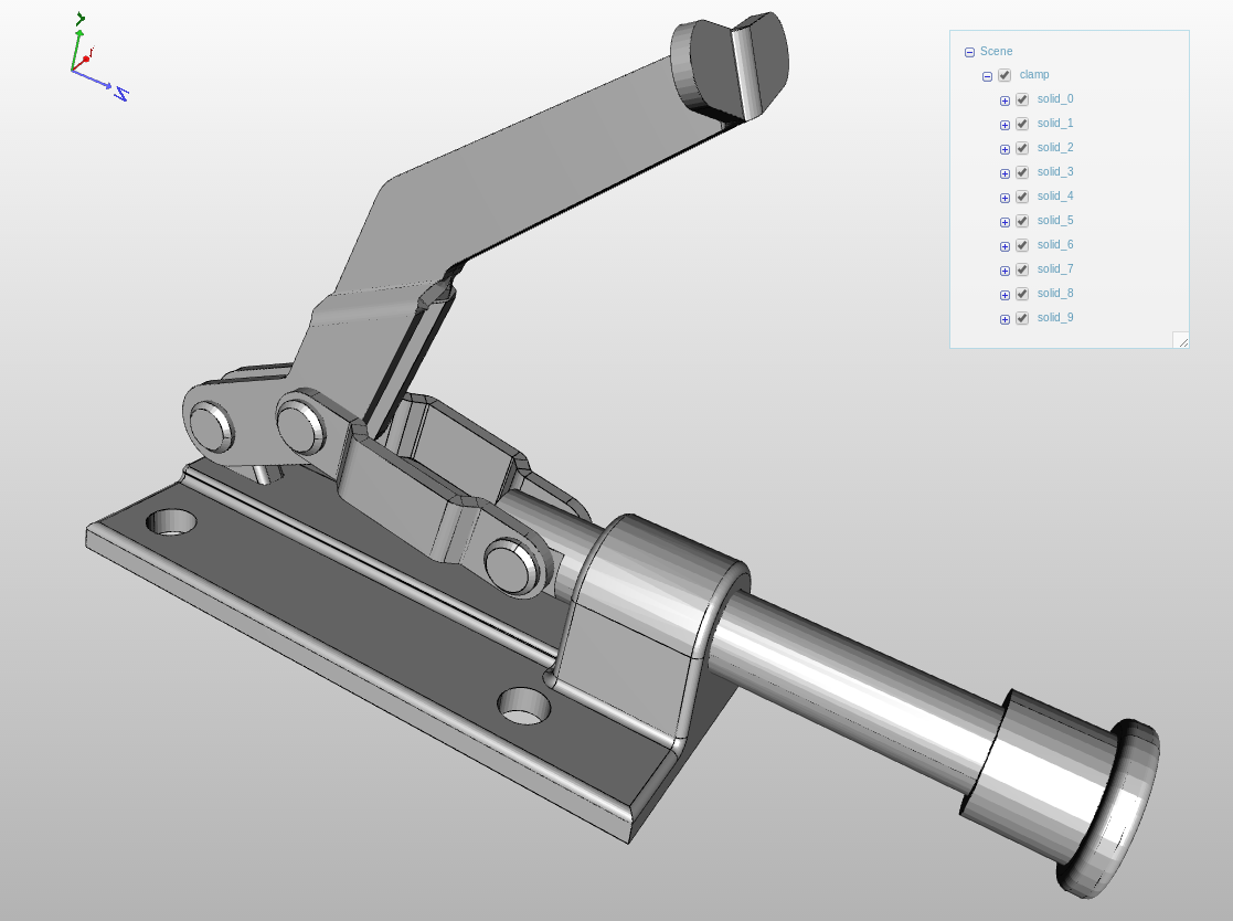 A CAD assembly in the viewer