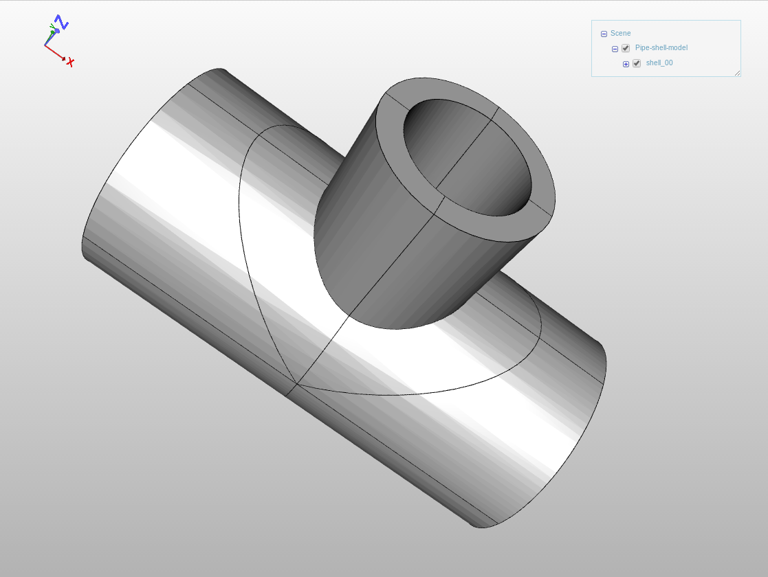 A CAD model consisting only of faces in the viewer