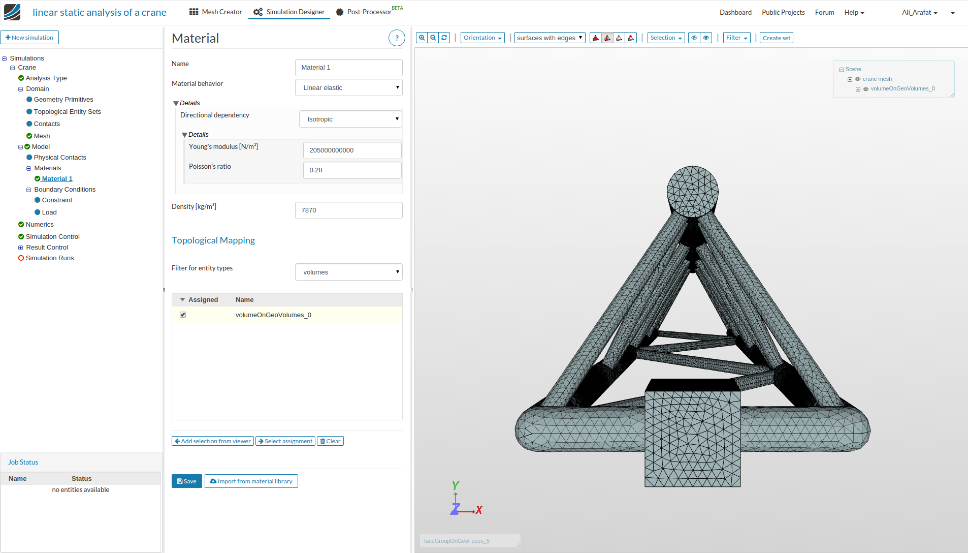 Linear static analysis of a crane — SimScale Documentation