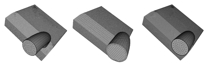 Three different meshing operations used to generate a mesh for this gasoline tank for fluid flow analysis.