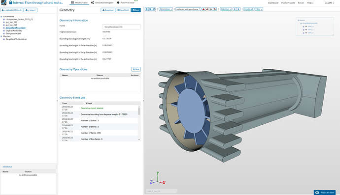 cfd, mrf mesh, hand motor with fan geometry