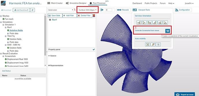 mesh screenshot, harmonic analysis, fan