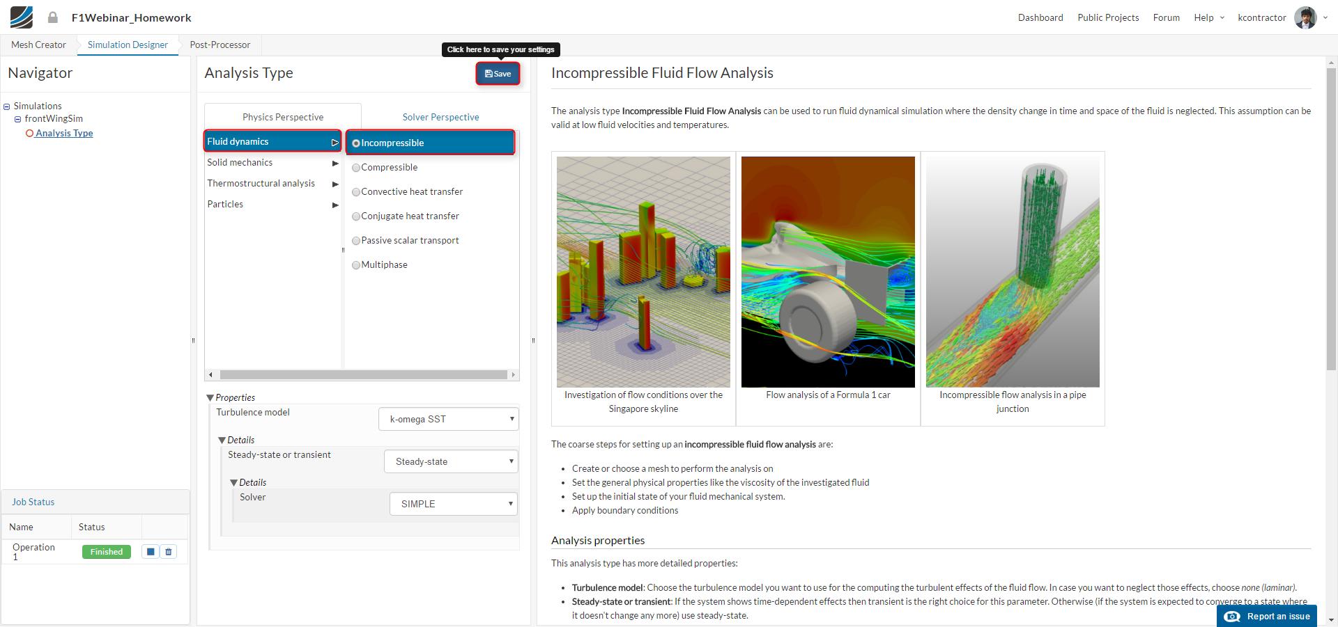 f1 aerodynamics tutorial, simlation setup