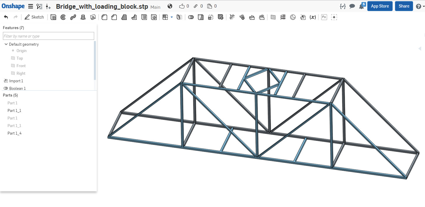 Easy Way To Connect A Number Of Parts Solid Mechanics Fea Truss Bridge Diagram Through For Applying The Boundary Conditions In Simscale You Can Remove Blocks And Apply Fixed Bc Directly At Location Where Member Block