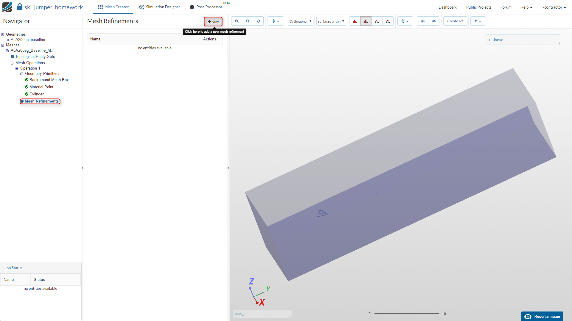 sports aerodynamics workshop homework step-by-step tutorial, meshing, mesh refinement