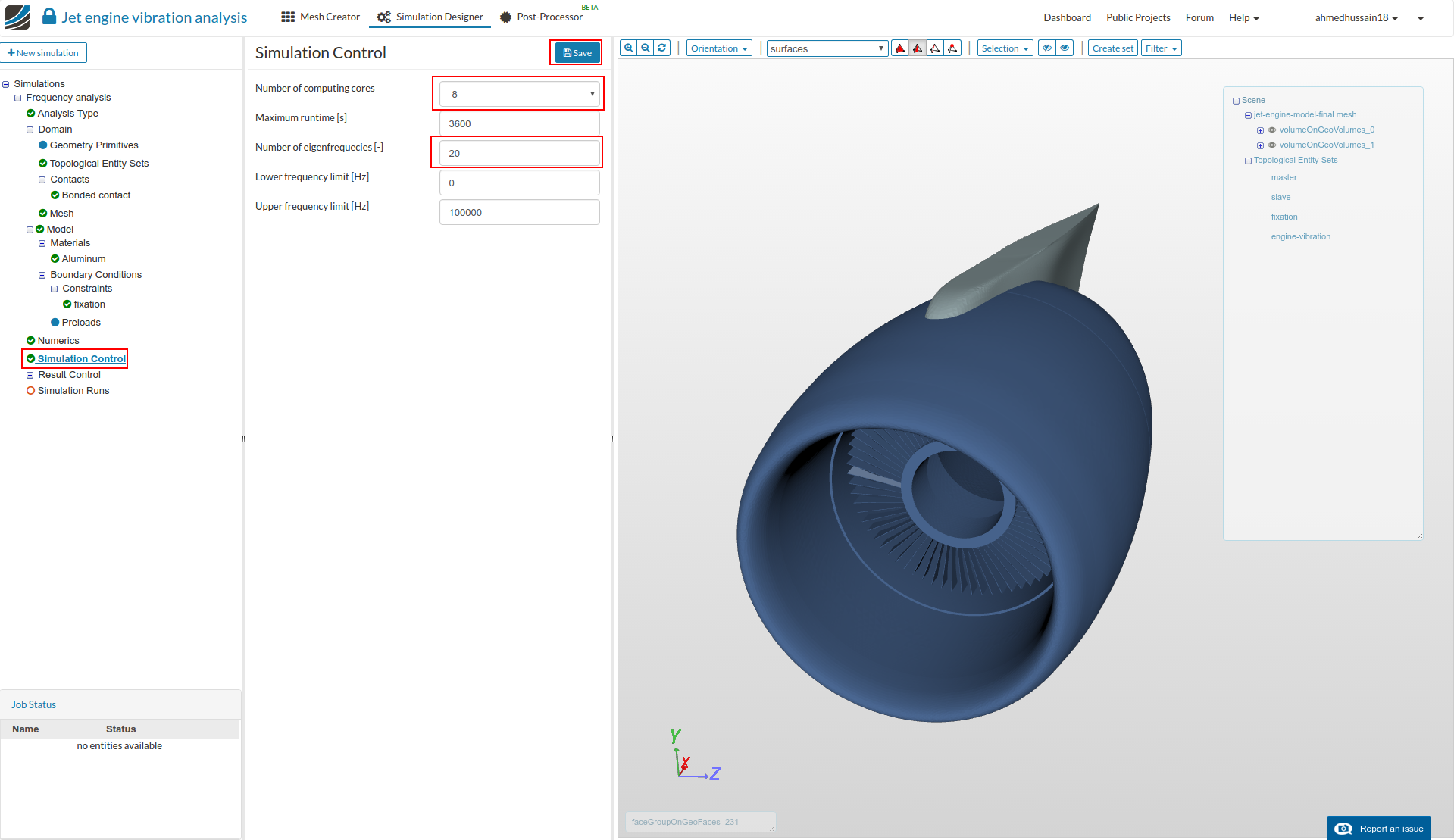 aerospace workshop, aircraft jet engine vibration analysis simulation control