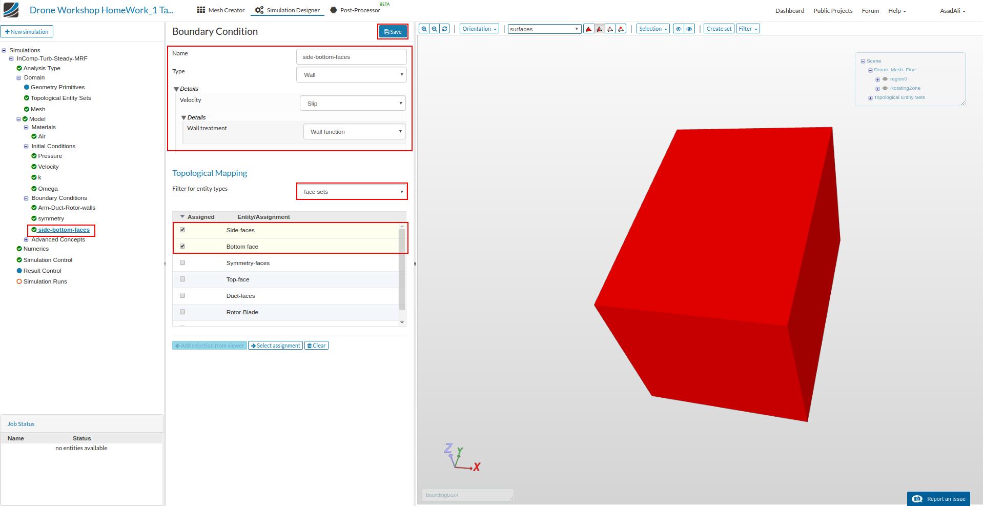 diy drone design simulation setup, slipwall boundary condition