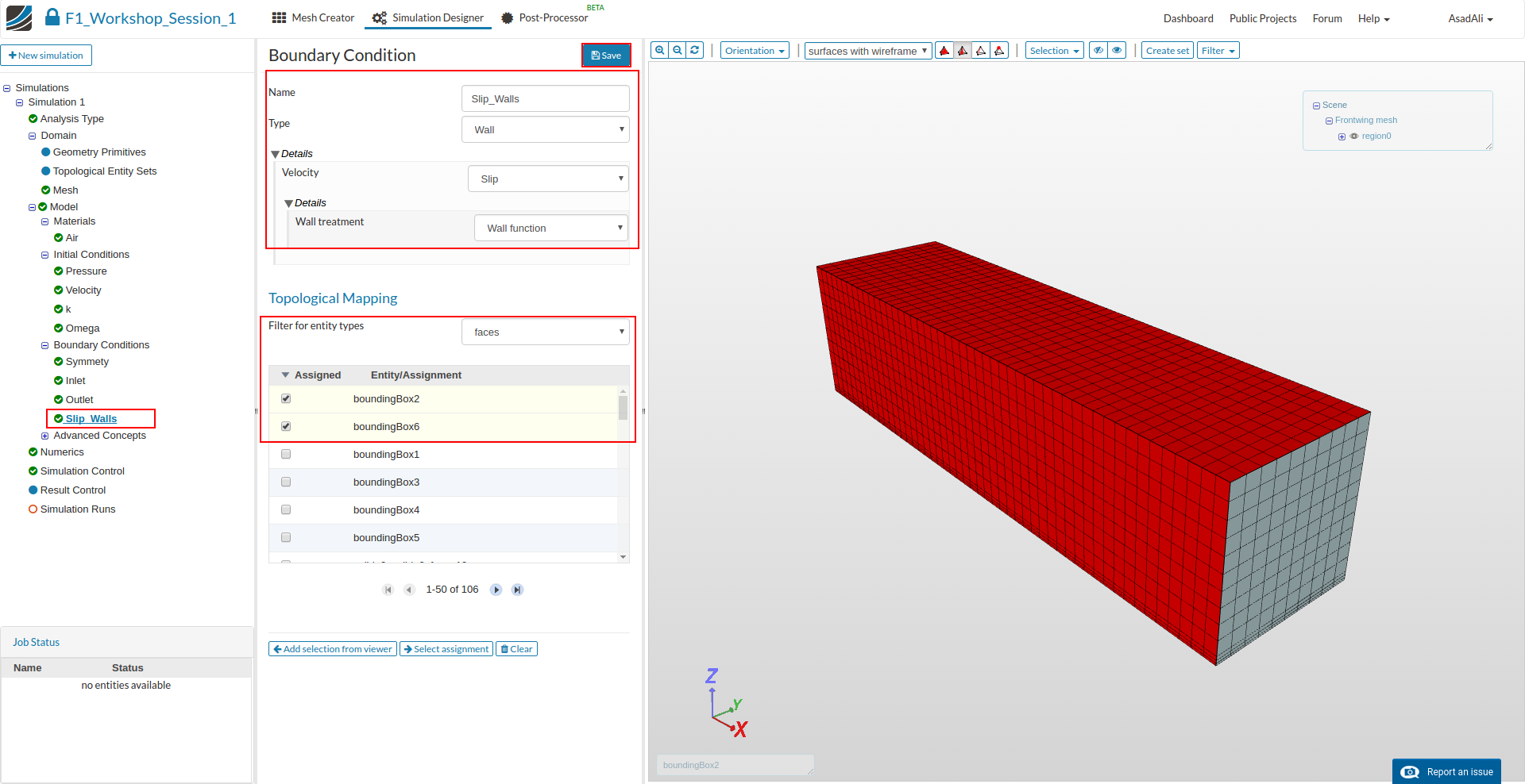 f1 aerodynamics simulation boundary condition setup