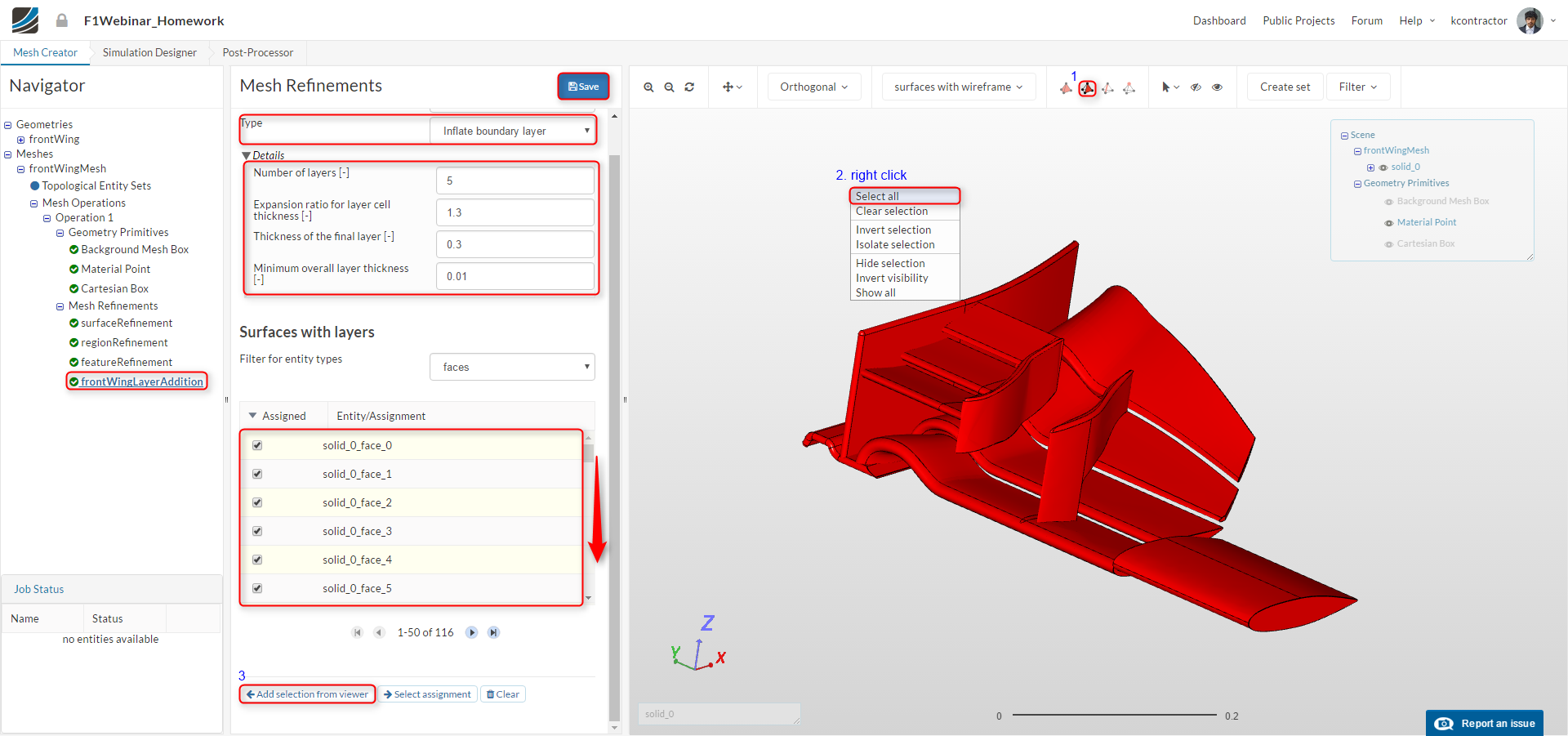 f1 aerodynamics workshop tutorial, front wing surface layer elements