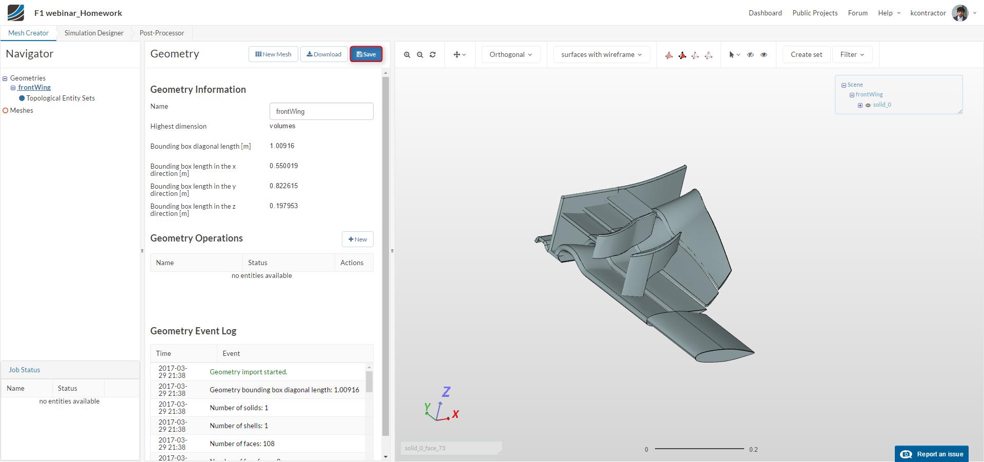 f1 aerodynamics, front wing geometry upload