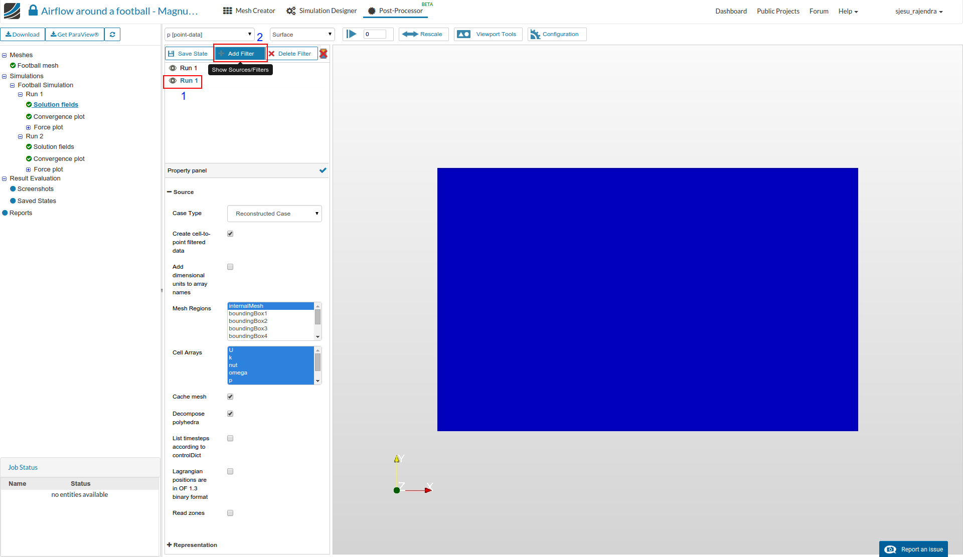 magnus effect simulation setup, post processing setup