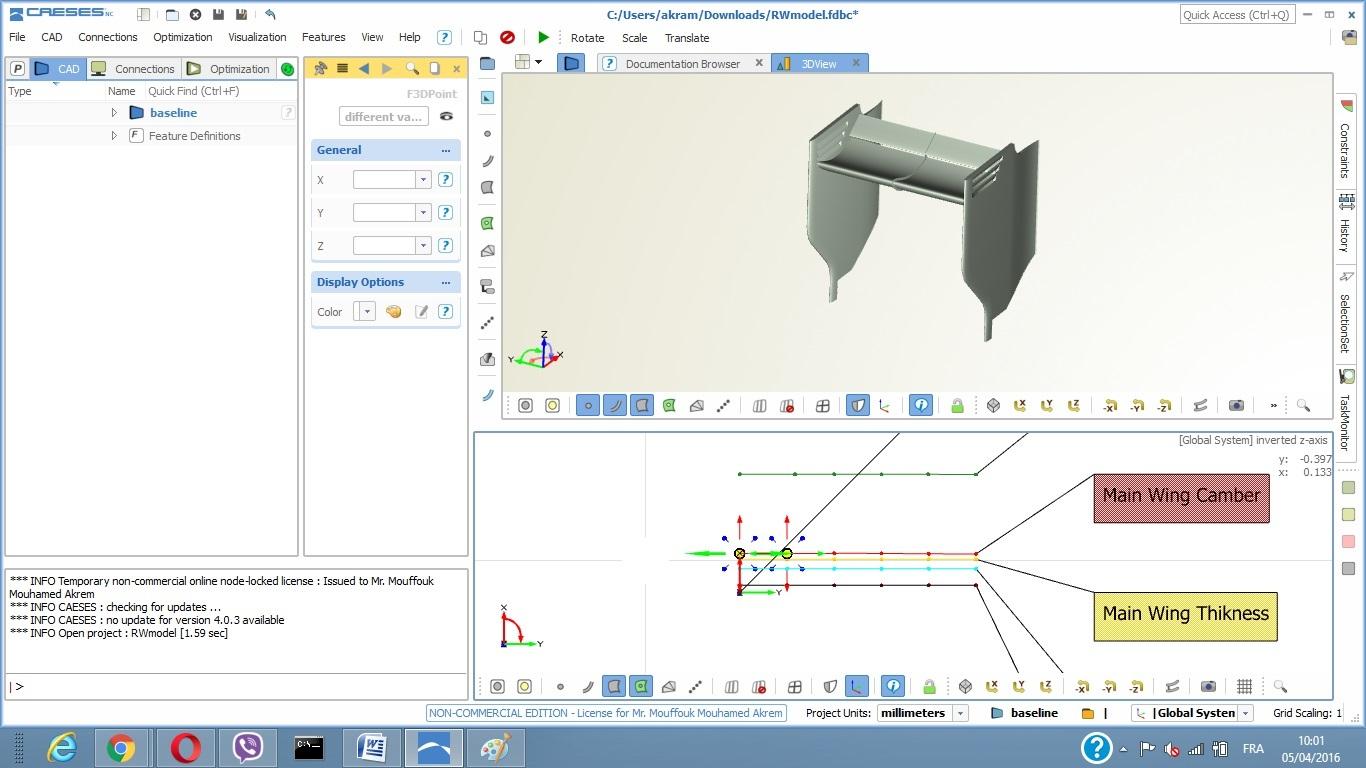caeses f1 aerodynamics workshop tutorial, 3d model parameters