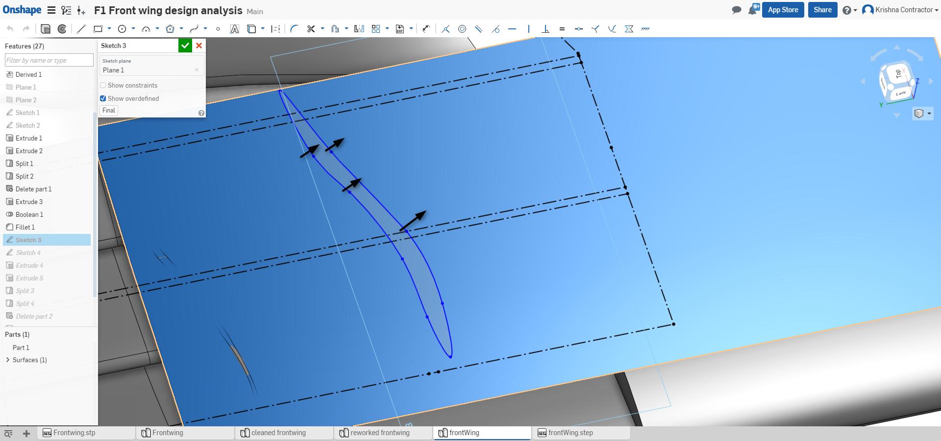 f1 aerodynamics f1 front wing vane design onshape control points